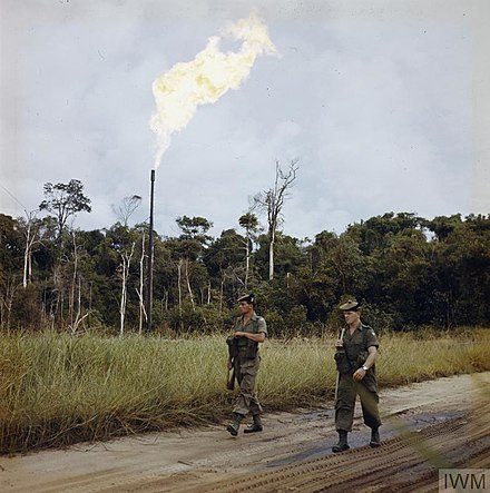 British soldiers in the British protectorate of Brunei on guard in the Seria oilfield, January 1963 THE BRITISH ARMY IN BRUNEI, JANUARY 1963.jpg