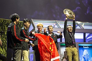 The International 2014 - Winning team NewBee celebrating after the grand final