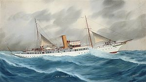 TS Vanadis - The Royal Thames Yacht Club's steam yacht Ianara painted by Luca Papaluca (1890-1934)