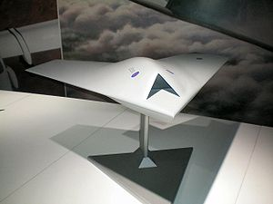 BAE Systems Taranis - Model of BAE Taranis UAV on display at Farnborough Airshow in 2008.