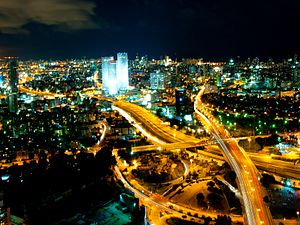 Tel Awiw-Jafa: Tel Aviv Skyline (night) - 2