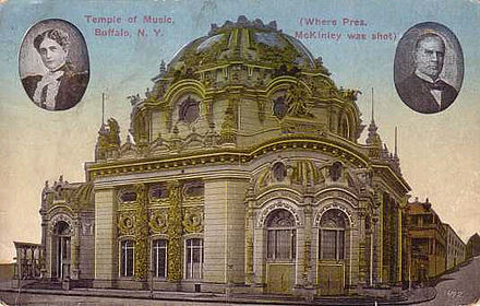 The Temple of Music, as seen on a post card. Like most of the Exposition's structures, it was removed after the Exposition closed. Temple of Music postcard.jpg