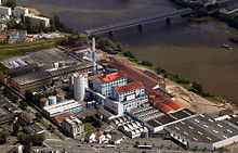 Aerial photo of a sugar refinery in Nantes