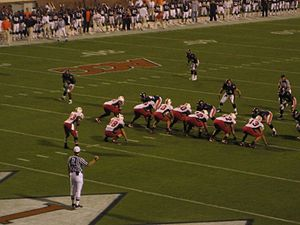 An overhead shot of the Maryland–Virginia game shortly before the snap. Maryland is on offense and is lined up in an I-formation.