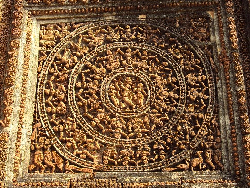 Terracotta work on Shyamrai Temple Bishnupur 8
