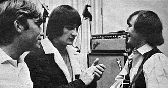 Psychedelic rock - Producer Terry Melcher in the studio with the Byrds' Gene Clark and David Crosby, 1965