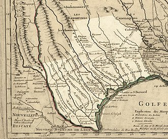 History of Texas - Texas in 1718, Guillaume de L'Isle map, approximate state area highlighted, northern boundary was indefinite.