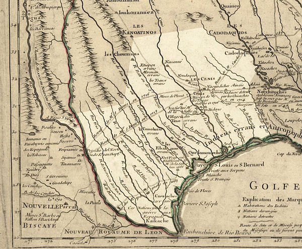 Texas in 1718, Guillaume de L'Isle map, approximate state area highlighted, northern boundary was indefinite. Texas 1718.jpg