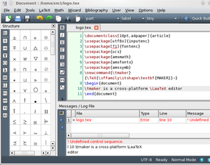 Texmaker in action on KDE 4.