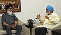 The Chief Minister of Punjab, Shri Parkash Singh Badal meeting the Deputy Chairman, Planning Commission, Shri Montek Singh Ahluwalia, for finalizing annual plan 2013-14 for the State, in New Delhi on April 30, 2013.jpg