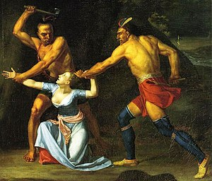 Jane McCrea - This depiction of The Death of Jane McCrea was painted in 1804 by John Vanderlyn (detail)
