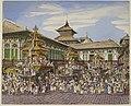 The Kumari jatra. Three temple cars outside the Hanuman Dhoka, or Old Palace, Kathmandu - Oldfield collection (1850-1863) - BL WD 3279.jpg