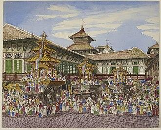 Yenya - Kumari Jatra in the 1850s, in front of the Hanuman Dhoka