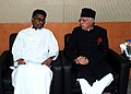 The Minister of Power & Energy of Sri Lanka, Mr. Patali Champika Ranawaka, calls on the Union Minister for New and Renewable Energy, Dr. Farooq Abdullah, in Greater Noida (U.P.) on October 28, 2010.jpg