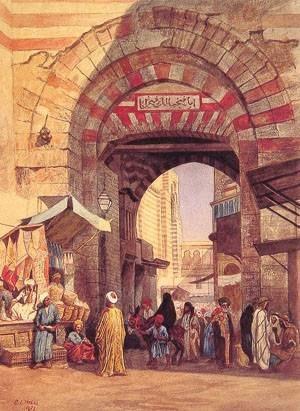 Bazaar - The Moorish Bazaar, painting by Edwin Lord Weeks, 1873