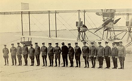 Crews of the NC-4, NC-3 and NC-1 immediately before the departure of the first transatlantic flight The National geographic magazine (Page 516) BHL40563513 (cropped).jpg