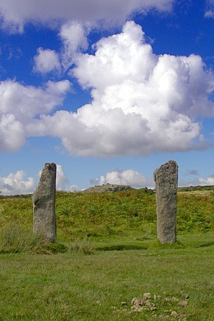 The Pipers - The Pipers standing stones on Bodmin Moor with a view of Stowe's Hill