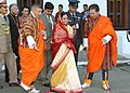 The President, Smt. Pratibha Devisingh Patil arriving at Tashichhodzong, Bhutan to attend the Coronation Ceremony of 5th King of Bhutan, HM Jigme Khesar Namgyel Wangchuck on November 06, 2008.jpg