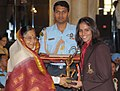 The President, Smt. Pratibha Devisingh Patil presenting the Arjuna Award-2009 to Ms. Saina Nehwal for Badminton, in a glittering ceremony, at Rashtrapati Bhawan, in New Delhi on August 29, 2009.jpg