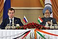 The Prime Minister, Dr. Manmohan Singh and the President of the Russian Federation, Mr. Dmitry A. Medvedev, at the Joint Press Conference, in New Delhi on December 21, 2010.jpg