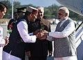 The Prime Minister, Shri Narendra Modi being welcomed by the Governor of Uttarakhand, Dr. K.K. Paul and the Chief Minister of Uttarakhand, Shri Trivendra Singh Rawat, on his arrival, at Dehradun, Uttarakhand (1).jpg