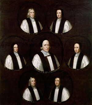 Glorious Revolution - Group portrait of the Seven Bishops whom James ordered imprisoned in the Tower of London in 1688, but who were acquitted of charges of seditious libel.