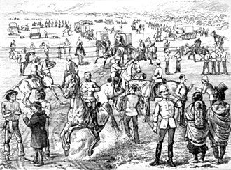 North-West Mounted Police - Mounted police preparing to leave Fort Dufferin in 1874, depicted by Henri Julien