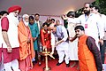 The Union Home Minister, Shri Rajnath Singh lighting the lamp to inaugurate a blood donation camp, in New Delhi on August 20, 2016. The Union Minister for Tribal Affairs, Shri Jual Oram and other dignitaries are also seen.jpg