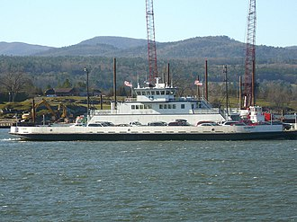Lake Champlain Transportation Company - The Vermont running at Crown Point. Cranes for the construction of the new Lake Champlain Bridge in the background, November 2010.