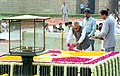 The Vice President Shri Bhairon Singh Shekhawat paying floral tributes at the Samadhi of Mahatma Gandhi at Rajghat in Delhi on October 2, 2004.jpg