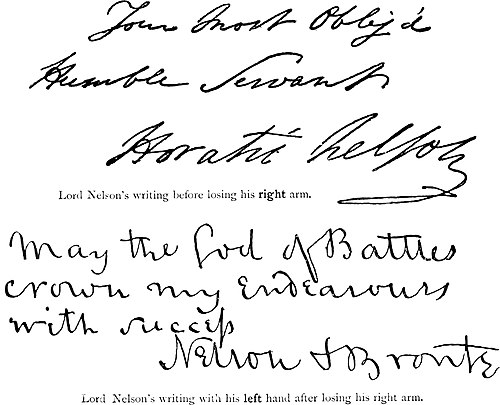 Lord Nelson's writing before losing his right arm. Lord Nelson's writing with his left hand after losing his right arm.