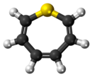 Ball-and-stick model of the thiepine molecule