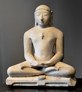Swastika - Idol of Jain Tirthankara Suparshvanath with his swastika symbol below it.