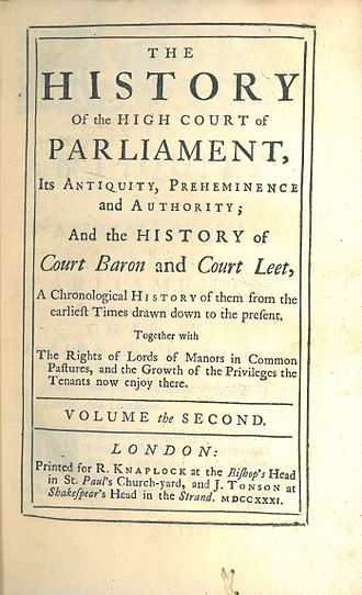 Jacob Tonson - Image: Thornhagh Gurdon, The History of the High Court of Parliament (1st ed, 1731, vol 2, title page)