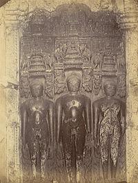 Three sculptures of Jain tirthankaras in the Bhand Dewal Temple, Arang.jpg