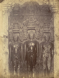 Three sculptures of Jain tirthankaras in the Bhand Dewal Temple