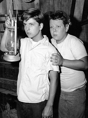Tommy Rettig - Tommy Rettig as Jeff Miller with Donald Keeler as Porky in Lassie (1956).