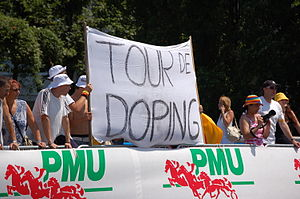 Doping at the Tour de France - Spectators' banner during the Tour de France 2006