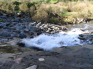 Trabuco Creek - An artificial concrete waterfall on Trabuco Creek, downstream of the Metrolink rail bridge and upstream of the Oso Creek confluence