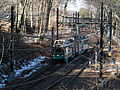 Train turning at Beaconsfield crossover, January 2016.JPG