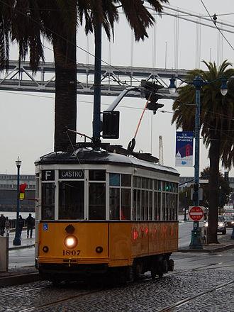 Peter Witt streetcar - Sister ex-Milan Peter Witt car Class 1500 operating on the Embarcadero in San Francisco.