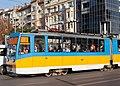 Tram in Sofia near Sofia statue 2012 PD 056.jpg