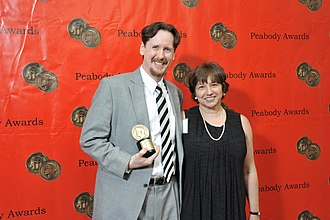 West Virginia Public Broadcasting - Trey Kay and Deborah George at the 69th Annual Peabody Awards for The Great Textbook War, broadcast on WVPB