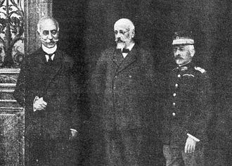 "National Schism - The ""Triumvirate of National Defence"" in Thessaloniki. L-R: Admiral Pavlos Kountouriotis, Venizelos, and General Panagiotis Danglis."