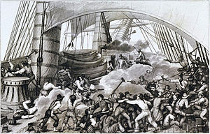 Naval boarding - Boarding of the ''Triton'' by the French corsair ''Hasard'' (ex-Cartier) under Robert Surcouf.