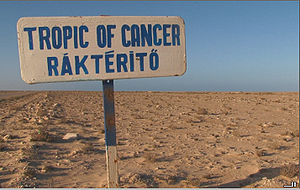 Tropic of Cancer sign in Western Sahara
