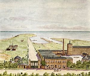 Hellerup - Tuborg Breweries with the small harbor in the background, c. 1880