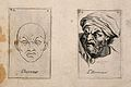 Two faces, one in outline, expressing horror. Etching by B. Wellcome V0009382.jpg