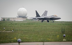Mihail Kogălniceanu International Airport - U.S. Air Force F-22A Raptor taxis on the flightline at Mihail Kogălniceanu Air Base