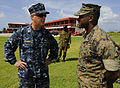 U.S. Navy Capt. Michael Jacobsen, left, the U.S. Naval Forces Southern Command chief of staff, U.S. 4th Fleet, meets with Marine Sgt. Georman Elder Aug. 25, 2010, at a Barbadian military installation 100825-N-EP471-300.jpg